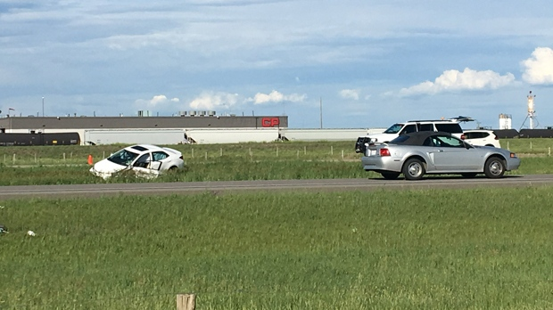 A damaged car in the ditch of Highway 3 west of Coalhurst following Monday afternoon's fatal crash