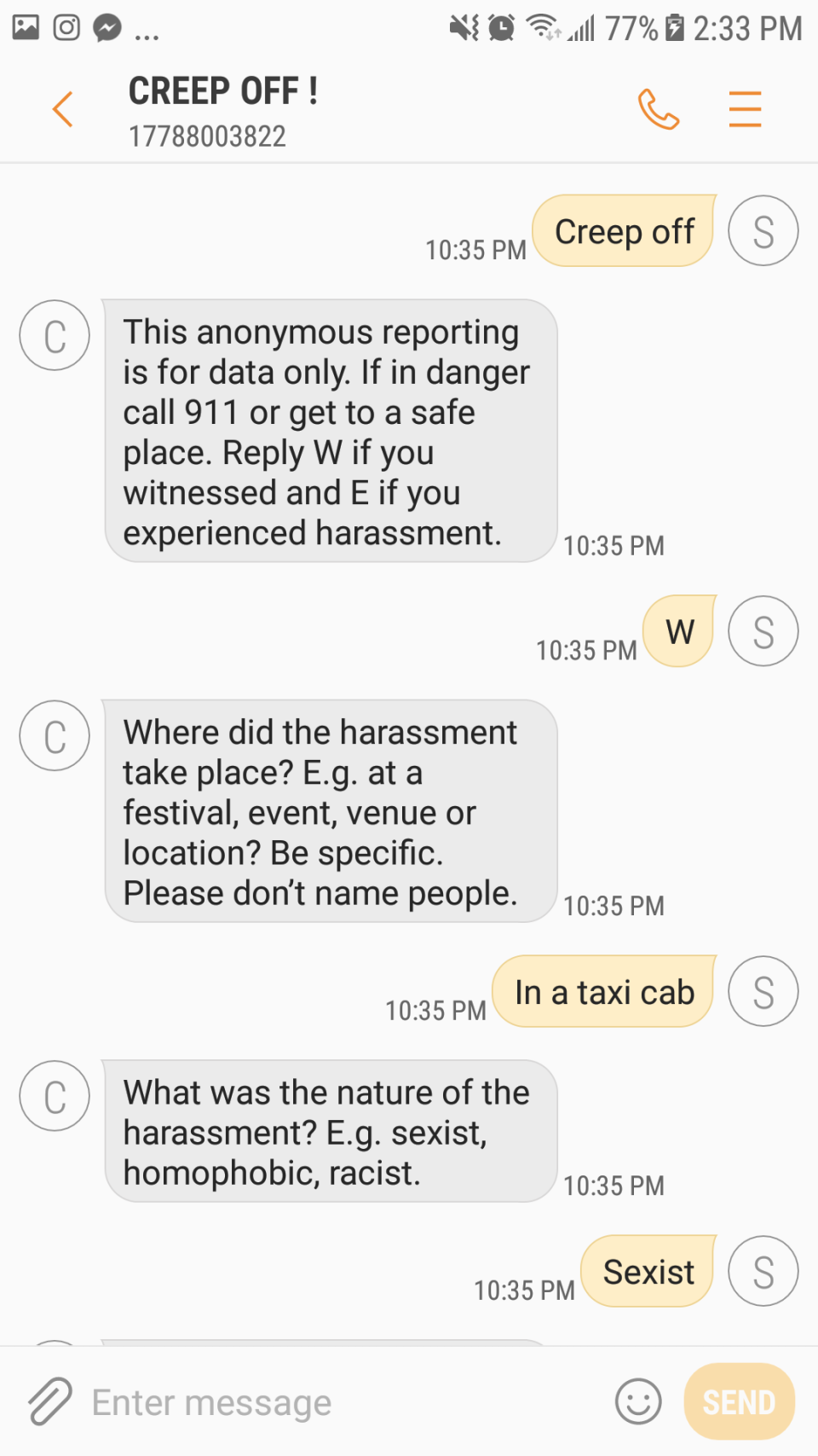 This screenshot shows how the Creep Off bot gathers data on incidents of harassment.