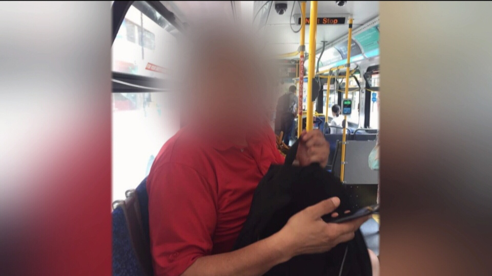 A woman snapped this photo of a man she alleges was taking a photo up her skirt in Vancouver. (CTV)