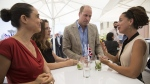 Prince William during a meeting with young Israeli professionals on the rooftop at the Beit Ha'air Museum in Tel Aviv on June 27, 2018. (Heidi Levine/Pool photo via AP)