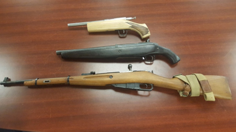 Guns seized during raid in London Ont. on June 27, 2018. (Supplied)