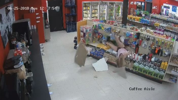 Brittany Burke fell through the ceiling in an apparent attempt to evade police.
