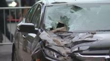 Brick damages car