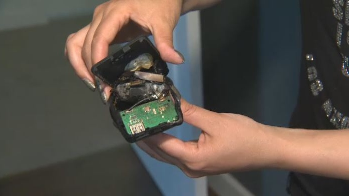 A Metchosin couple says a Tzumi Electronics Pocket Juice power bank exploded in her home, leaving a scorch mark on her floor. June 27, 2018. (CTV Vancouver Island)