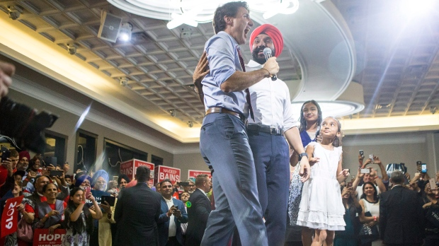 Trudeau with Liberal MP Navdeep Bains