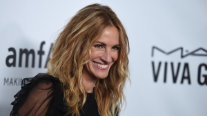 FILE - In this Oct. 13, 2017, file photo, Julia Roberts attends the 2017 amfAR Inspiration Gala Los Angeles in Beverly Hills, Calif. (Photo by Jordan Strauss/Invision/AP, File)