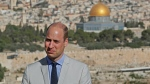 Prince William stands in Jerusalem's Mount of Olives overlooking the Old City with the Dome of the Rock mosque Thursday, June 28, 2018. (Thomas Coex / Pool Photo via AP)