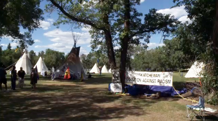 The Justice for our Stolen Children camp at the Saskatchewan legislative grounds on June 27, 2018.