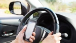 A driver uses their mobile phone while driving in this undated file image. (File)