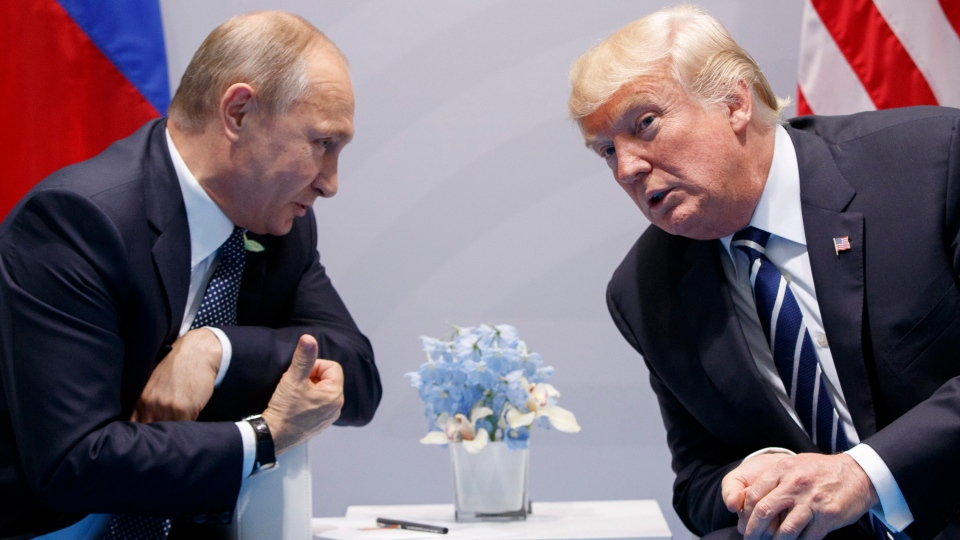 In this Friday, July 7, 2017, file photo, U.S. President Donald Trump meets with Russian President Vladimir Putin at the G20 Summit in Hamburg. (AP Photo/Evan Vucci)