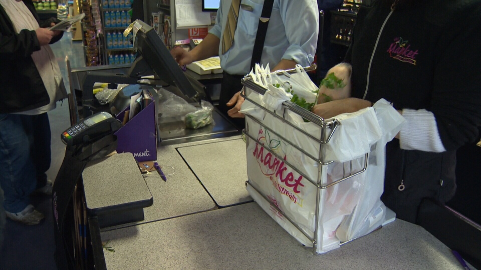 Plastic checkout bags are seen at a Victoria supermarket in this undated file photo.