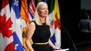 Minister of Environment and Climate Change Catherine McKenna speaks at a press conference after a meeting with provincial and territorial environment ministers in Ottawa on Thursday, June 28, 2018. (Patrick Doyle/ The Canadian Press)