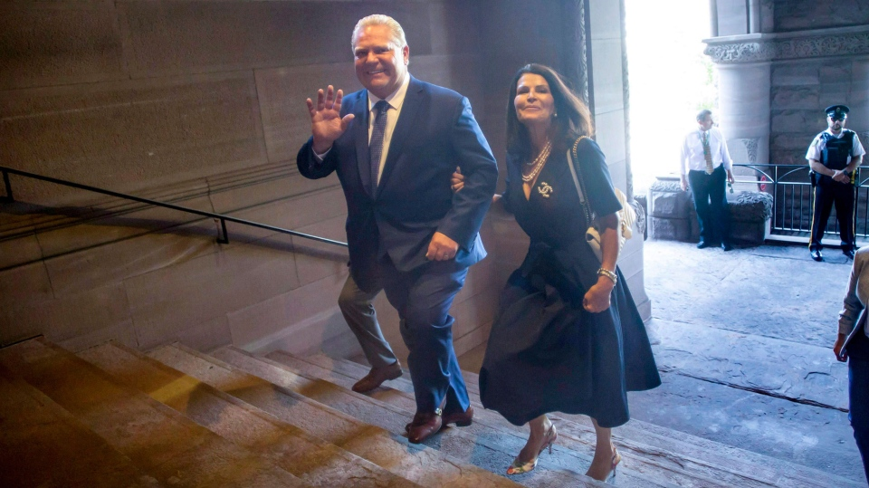 Premier-designate Doug Ford and his wife Karla arrive at Queen's Park as he prepares to be sworn in as Ontario's new Premier in Toronto on Friday, June 29, 2018. THE CANADIAN PRESS/Chris Young