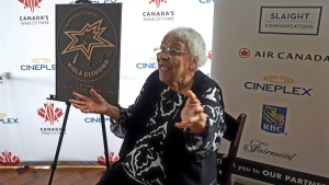 Wanda Robson, Viola Desmond's sister, gestures during a ceremony unveiling Viola's star on Canada's Walk of Fame in Halifax, Friday, June 29, 2018. (THE CANADIAN PRESS/Alex Cooke)