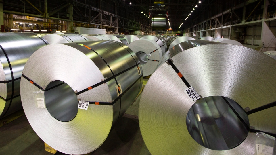 Rolls of coiled coated steel are shown at Stelco before a visit by the Chrystia Freeland, Minister of Foreign Affairs, in Hamilton on Friday, June 29, 2018. (THE CANADIAN PRESS/Peter Power)