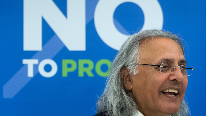 Former British Columbia premier Ujjal Dosanjh leaves after a No B.C. Proportional Representation Society news conference, in Vancouver, on Thursday June 28, 2018. THE CANADIAN PRESS/Darryl Dyck