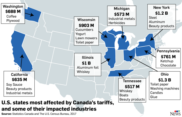 Map of tariffs hitting industries (Nick Kirmse)