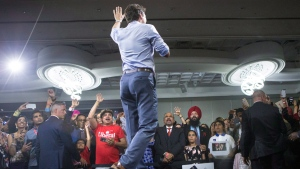Prime Minister Justin Trudeau speaks onstage at a nomination event for Liberal MP Navdeep Bains in Mississauga, Ont., on Wednesday, June 27, 2018. THE CANADIAN PRESS/Chris Young