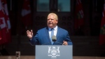 Premier Doug Ford addresses the public after being sworn in as the 26th Premier of Ontario at Queen's Park in Toronto on Friday, June 29, 2018. THE CANADIAN PRESS/Tijana Martin