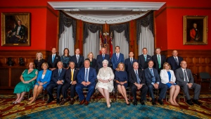 Incoming Ontario Premier Doug Ford sits with members of his cabinet prior to being sworn in during a ceremony at Queen's Park in Toronto on Friday, June 29, 2018. (THE CANADIAN PRESS/Mark Blinch)
