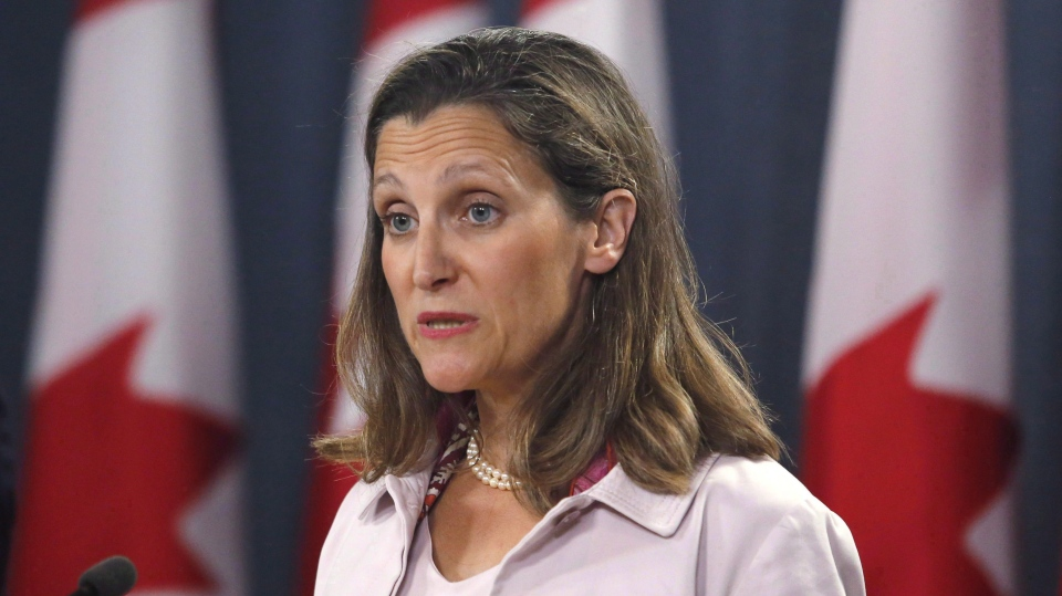 Foreign Affairs Minister Chrystia Freeland speaks at a press conference in Ottawa on Thursday, May 31, 2018.THE CANADIAN PRESS/ Patrick Doyle