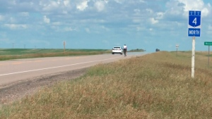 A stretch of road near a fatal head-on collision in Elrose, Sask. is seen on Saturday, June 30, 2018.