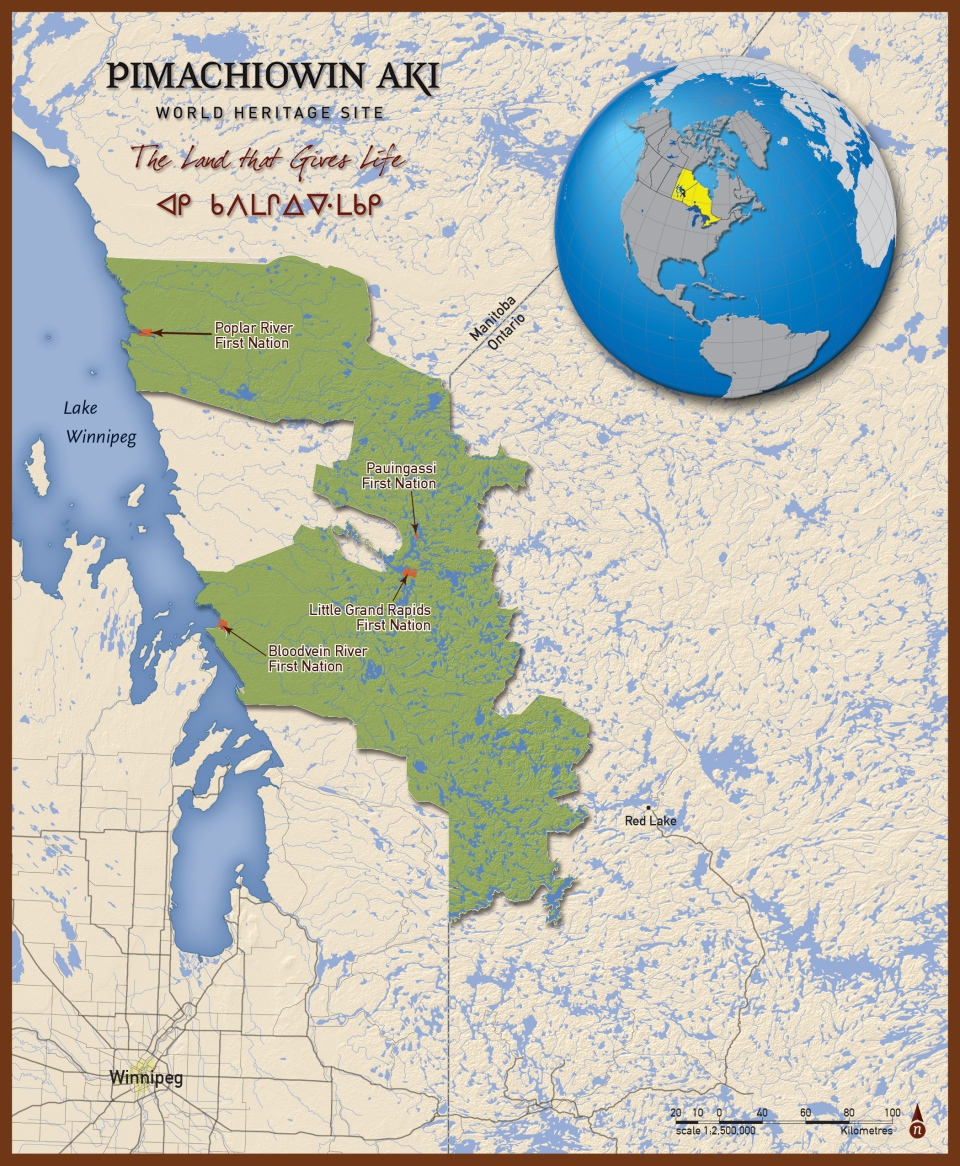 Treasure for our peoples first cultural and natural world heritage a map detailing the area known as pimachiowin aki source pimachiowin aki world heritage site gumiabroncs Images