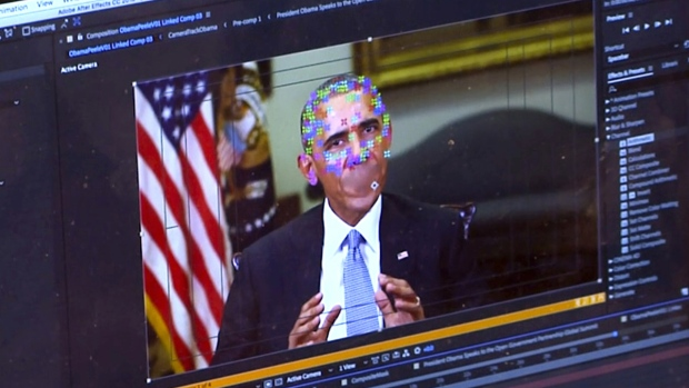 This image made from a fake video featuring former U.S. President Barack Obama shows elements of facial mapping used in new technology that lets anyone make videos of real people appearing to say things they've never said. (AP)