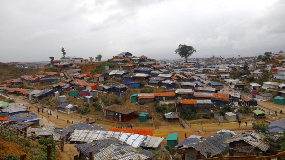 A view of the Kutupalong Rohingya refugee camp that UN Secretary General Antonio Guterres visited in Cox's Bazar district, Bangladesh, on July 2, 2018. (AP)