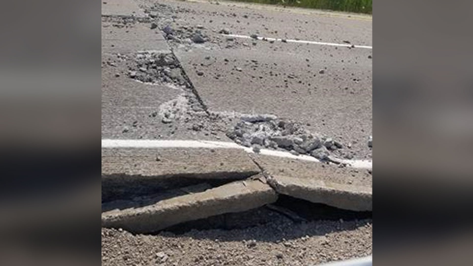 Sections of Highway 3 in Essex County have buckled under the heat on Sunday, July 1, 2018.