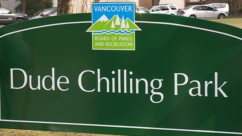 Dude Chilling Park sign is seen in an undated image.