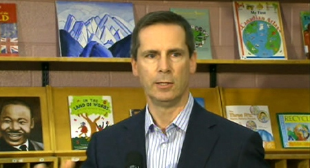 Ontario Premier Dalton McGuinty makes the announcement at Holy Angels Seperate School in Schreiber, Ont., Monday, June 15, 2009.