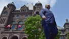 Ontario premier Doug Ford walks out onto the front lawn of the Ontario Legislature at Queen's Park in Toronto on June 8, 2018. THE CANADIAN PRESS/Frank Gunn