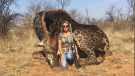 Tess Thompson Talley poses in front of a giraffe she killed during a 2017 hunting trip. (AfricaDigest/Twitter)
