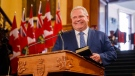 Doug Ford speaks as he is sworn in as premier of Ontario during a ceremony at Queen's Park in Toronto on Friday, June 29, 2018. (THE CANADIAN PRESS/Mark Blinch)