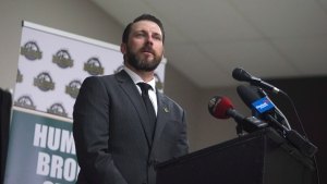 Nathan Oystrick speaks during a media announcement for his position as the new Humboldt Broncos coach and General Manger, in Humboldt, Sask. Tuesday, July, 3, 2018. THE CANADIAN PRESS/Kayle Neis