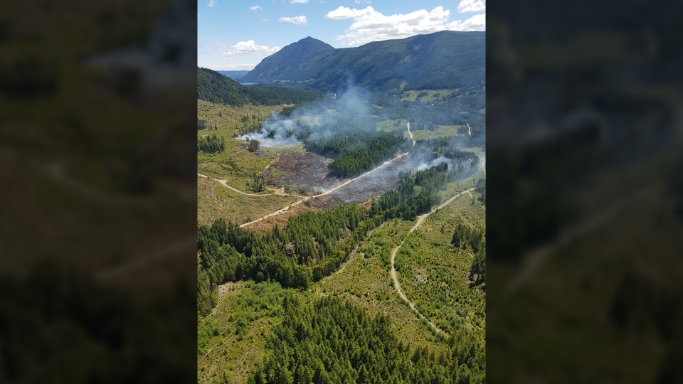 A wildfire discovered near Nanaimo Lakes on Canada Day has grown to 10 hectares in size, according to the Coastal Fire Centre. July 3, 2018. (Courtesy Coastal Fire Centre)