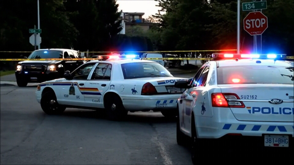 RCMP cruisers are seen in Surrey, B.C. in this undated photo.