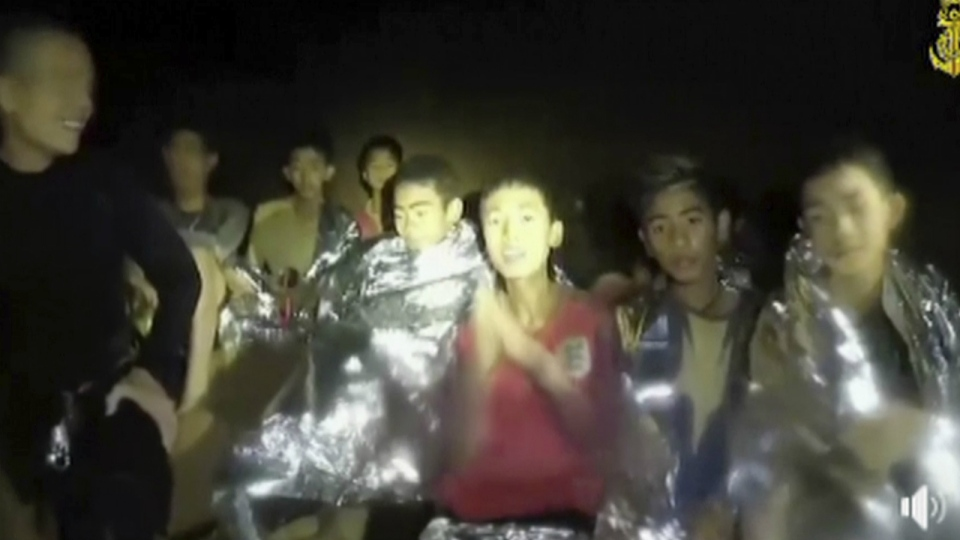 Thai boys are with Navy SEALs inside the cave, Mae Sai, northern Thailand on July 3, 2018. (Thai Navy Seal via AP)