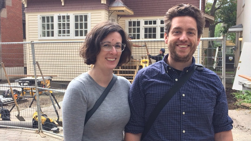 Rebecca Bartlett and Jim Ellwood stopped at Emily Murphy's house in Edmonton as part of a tour of 90 locations connected to Historica Canada's Heritage Minutes.