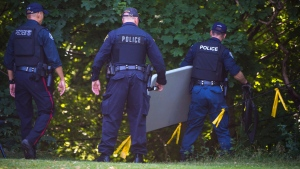 Police investigate the a property along Mallory Cres. in Toronto as part of the Bruce McArthurinvestigation on Wednesday, July 4, 2018. THE CANADIAN PRESS/Tijana Martin