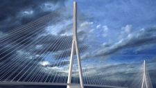 A conceptual drawing of a cable-stayed bridge, which will be the design of the new Gordie Howe International Bridge between Windsor and Detroit. (Windsor Detroit Bridge Authority)