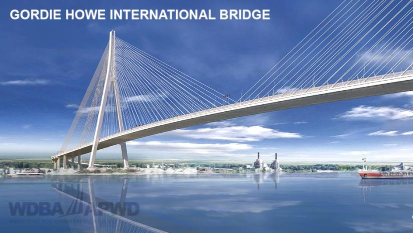 Conceptual drawing of cable-stayed Gordie Howe International Bridge between Windsor and Detroit, to be built by 'Bridging North America.' (courtesy of Windsor-Detroit Bridge Authority)