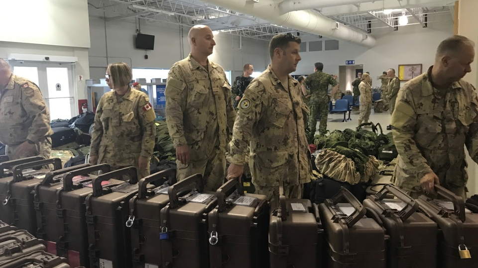 Canadian Forces personnel in Trenton, Ont., prepare to deploy for a peacekeeping mission in Mali on Thursday, July 5, 2018. (Mark Khouzam / CTV News)