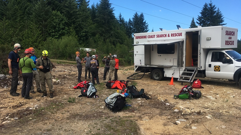 Sunshine Coast Search and Rescue crews are pictured at the scene of a fatal plane crash in Sechelt, B.C. (Steve Sleep / provided)