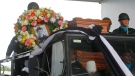 The body of Saman Gunan, a former Thai navy SEAL who died during an overnight mission, is carried during a repatriation and religious rites ceremony at Chiang Rai Airport in Mae Sai, Chiang Rai province, in northern Thailand Friday, July 6, 2018. (AP Photo)