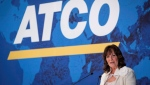 ATCO president and CEO Nancy Southern addresses the company's annual meeting in Calgary, Tuesday, May 15, 2018. (THE CANADIAN PRESS/Jeff McIntosh)