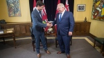 Ontario Premier Doug Ford and Canadian Prime Minister Justin Trudeau pose for a photo at the Ontario Legislature, in Toronto on Thursday, July 5, 2018. THE CANADIAN PRESS/Chris Young