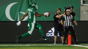 Saskatchewan Roughriders running back Marcus Thigpen (8) runs the ball in for a touchdown during second half CFL action in Regina. The Saskatchewan Roughriders defeated the Hamilton Tiger-Cats 18-13 on Thursday, July 5, 2018. (CFL PHOTO - MATT SMITH)