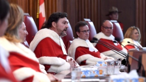 Supreme Court of Canada chief justice Richard Wagner speaks during the welcoming ceremony for Justice Sheilah Martin, in Ottawa on Friday, March 23, 2018. THE CANADIAN PRESS/Justin Tang